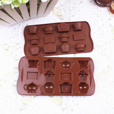 Durable DIY 12 Holes Tea Cup Clock Teapot Silicone Cake Mold Ice Chocolate Mould