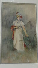 ANTIQUE VICTORIAN ORIGINAL WATERCOLOR ON PAPER OF WOMAN IN A GARDEN