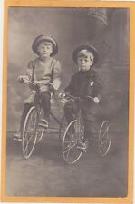 Studio Real Photo Postcard RPPC - Two Boys on Tricycle