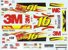 #16 Greg Biffle 3M Fusion Roush 1/32nd Scale Slot Car Decals