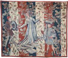 "'BAILLE DES ROSES' Medieval Belgian Heavy Tapestry Wall Hanging 30"" x 36.5"" NEW"
