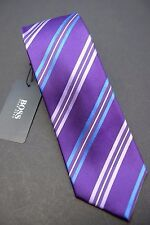 NWT Hugo Boss $95 Men's 100% Silk Purple Striped Slim Neck tie 7.5cm 3""
