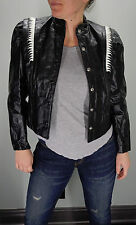 vtg 80s BLACK & WHITE Leather JACKET Zebra Trim MOTORCYCLE Cafe Racer Women's M