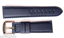 Locman 23mm NAVY BLUE Padded Lorica Leather Watch Band/Strap & Steel Buckle NEW