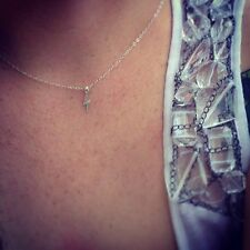 Tiny, Petite, Small Sterling Silver Lightening Bolt Necklace/Choker, Celebrity