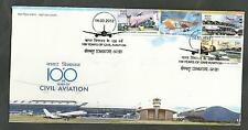 2012 FDC CIVIL AVIATION CENTENARY: SET OF 4 STAMPS. FINE AND RARE.