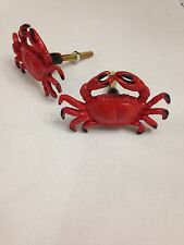 RED CRAB CABINET DRAWER FURNITURE METAL PULL KNOBS OCEAN BEACH NAUTICAL DECOR