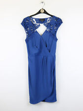 Warehouse Spotlight Womens Blue Dress With Lace Shoulders and Back Size 8