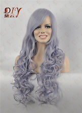 "Gray & Light Purple Mix 28"" Long Silver Curly Wig Heat Cos Costume Full Hair"