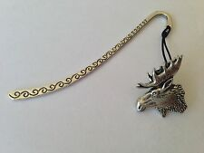 A27 Moose's Head Pattern bookmark with cord 3D English pewter charm