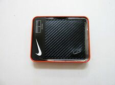 NIKE GOLF BLACK CARBON FIBER TEXTURED BILLFOLD MEN'S LEATHER WALLET NEW IN BOX