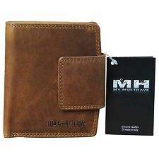 Hill Burry Wallet Men Purse Bifold Premium Leather Used Look Brown