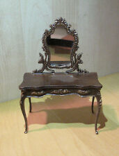 Dollhouse Miniature Bespaq Dressing Table Walnut Gold 1:12