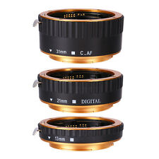 Gold AF TTL Macro Extension Tube Ring Set For Canon EOS EF EFS Lens 13-21-31mm