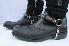 New Biker Men Western Women Boot Silver Chain Pair Leather Straps Big Motorcycle