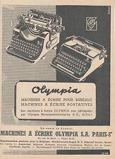 """Publicité Ancienne """" Machine à écrire Olympia S A  Paris  -1943 ( P 22 + )"""