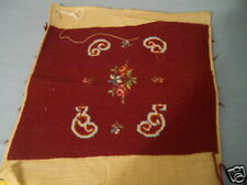 VINTAGE NEEDLEPOINT CANVAS  UNUSED FLOWERS DEEP WINE BACKGROUND