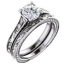 0.50 Ct Round Cut Solitaire Diamond Filigree Engagement Ring Set F,SI1 GIA