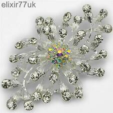 "NEW 3.2"" LARGE SILVER FLOWER BROOCH DIAMANTE RHINESTONE CRYSTAL BRIDAL BROACH UK"
