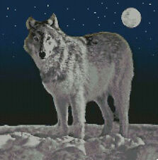 """Wolf nuit Compté Cross Stitch Kit 12 """"x 12"""" A2132"""