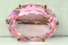 VINTAGE ANTIQUE ART DECO FACETED PINK CZECH GLASS PIN BROOCH