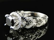 Womens Ladies White Gold Black Diamond Solitaire Engagement Ring Set 2.5Ct