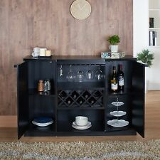 Black Wine Bar Server Wood Bottle Glass Rack Holder Storage Shelves Cabinet Gift