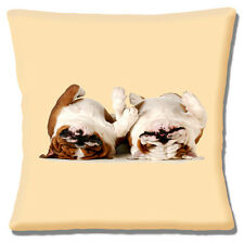 "NEW TWO ENGLISH BULLDOGS - 'TIME FOR A NAP ' - SLEEPING 16"" Pillow Cushion Cover"