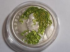 (2013) 1 oz Freedom Girl Green Color Coin .999 Silver