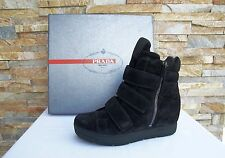 PRADA 35 Ankle Boots boots shoes shoes Suede black nero new