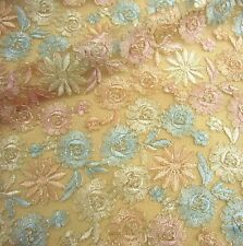 """Stunning Embroidery Bridal Lace Fabric 47"""" Wide Corded Lace Fabric 1/2 Yard"""