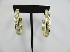 Gold Plated Clip On Rhinestone Crystal Hoop Earrings # 47902 New 2 Inch Size