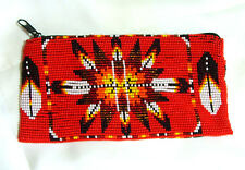 "Beaded Tote Bag Native American design Fabric Lined Zips close 7x3.5"" RED"