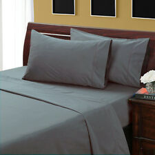 KING SIZE GRAY SOLID BED SHEET SET 800 THREAD COUNT 100% EGYPTIAN COTTON