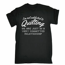ADDICTED TO QUILTING T-SHIRT tee knitting crochet needles granny funny gift 123t