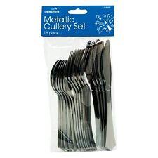 18 X Plata Metálico cubertería Partido Tenedores Cuchillos Cucharas Desechables Reino Unido la venta