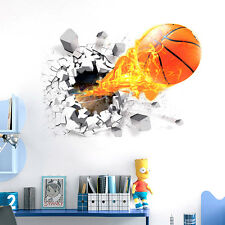 3D Removable Basketball Wall Sticker Home Decor Kids Room Bedroom Mural Decals