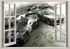 CAR RACING HIGH PERFORMANCE 3D Effect WINDOW WALL View STICKER Poster Vinyl Boys