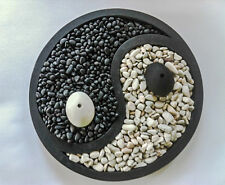 YIN/YANG Zen Garden/River Pebble Good Fortune Incense Holder Burner