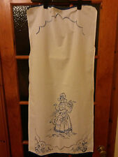 Vintage Dutch Hand Embroidered Linen Tablecloth Runner Girl with Geese 41x20''