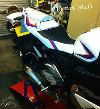 WHITE & BLACK CUSTOM 09-11 FITS BMW S 1000 RR M3 STRIPE FRONT SEAT COVER