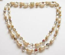 VINTAGE 1950'S AURORA BOREALIS & PEARL GLASS CRYSTAL BEADS TIERED NECKLACE