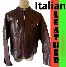 MOD cafe racing ITALIAN LEATHER jacket motorcycle vespa biker stripe riding ITAL