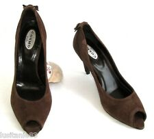 COSMO - ESCARPINS TALONS 8 CM BOUTS OUVERTS CUIR VELOURS MARRON 38 - COMME NEUF