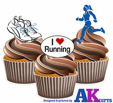 12 X I Love Running Female Runner Mix EDIBLE CAKE TOPPERS WAFER  CARD STAND UPS