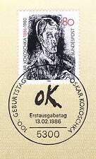 BRD 1986: Oskar Kokoschka Nr. 1272 mit sauberem Bonner Ersttagsstempel! 1A 157