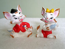Vntg Pr Figural Salt/Pepper Shakers Drunken Foxes Bottle Glass Hat Bow Enesco