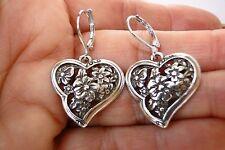 New Brighton Silver Flower Heart On Custom Silver Plate Lever Back Earring