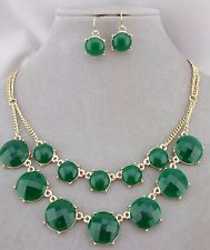 Layered Gold With Green Acrylic Accent Necklace Set Fashion Jewelry NEW