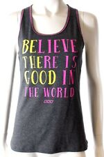 Lorna Jane Active Wear Be The Good Tank Grey Pink Yellow Sports Singlet Top Sz L